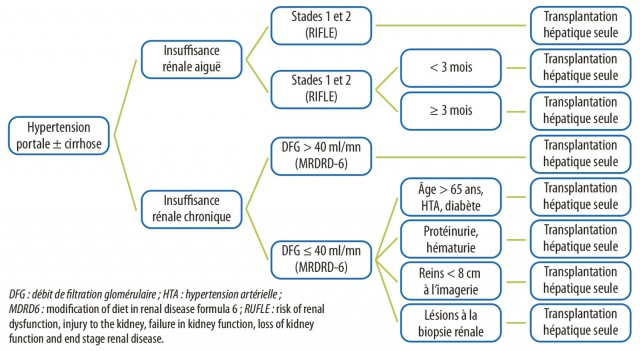Patients en attente de greffe hépatique : quand faut-il greffer un rein ? - Figure 1